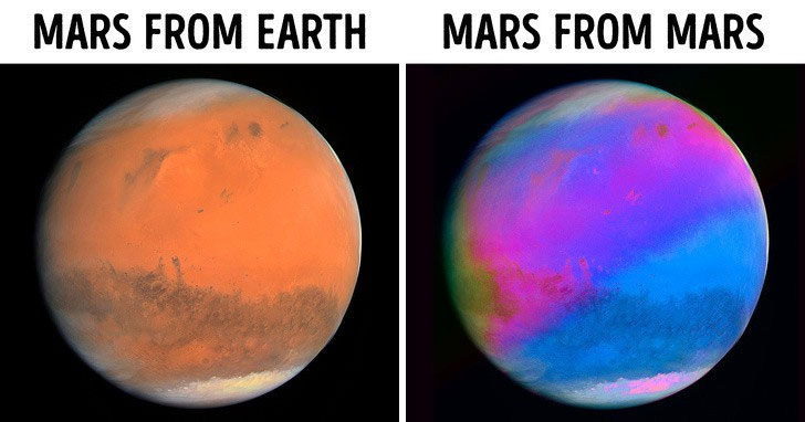 Các bức ảnh cho thấy Hành tinh Đỏ thực chất là đa sắc.