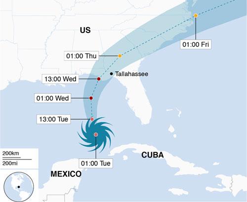 Đường đi dự kiến của bão Michael.