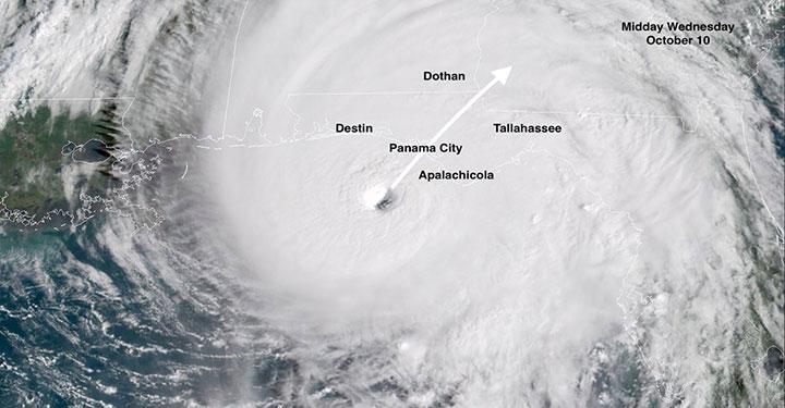 Hình ảnh vệ tinh cơn bão Michael 2018 tại Mỹ.