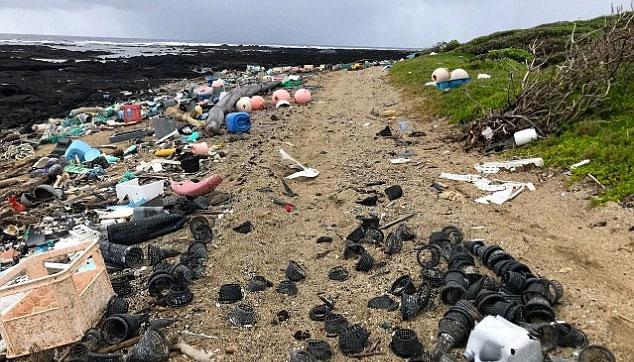 Rác thải nhựa trôi dạt vào bờ.