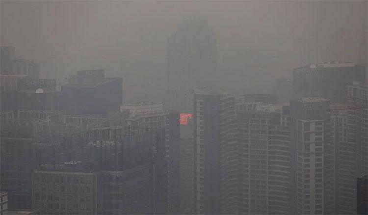 Chỉ số không khí đạt mức 213 - mức ô nhiễm nặng - ở Bắc Kinh hôm 15/10