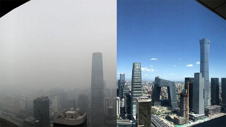 Bầu trời thủ đô Bắc Kinh, Trung Quốc trước và sau khi bị sương mù ô nhiễm bao phủ