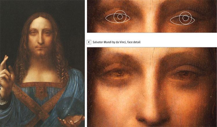 Leonardo đã sử dụng hình ảnh của chính mình làm khuôn mặt của Chúa trong kiệt tác Salvator Mundi