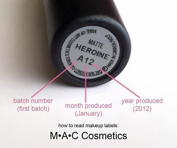 Batch code trên son của M.A.C thường có dạng chữ - số - số.
