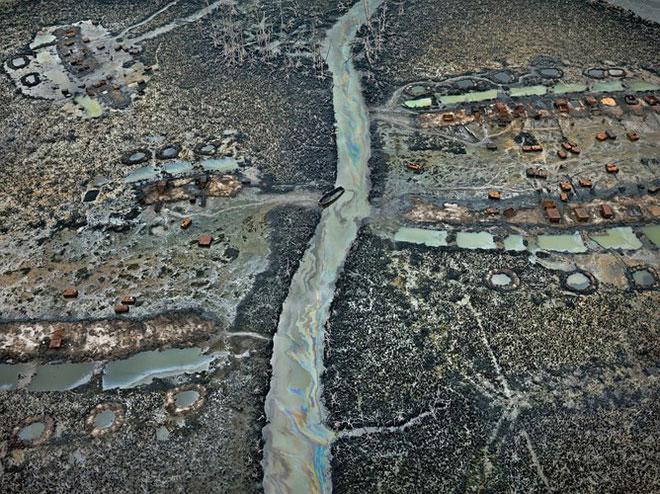 Dầu chảy ở đồng bằng Niger, Nigeria năm 2016.