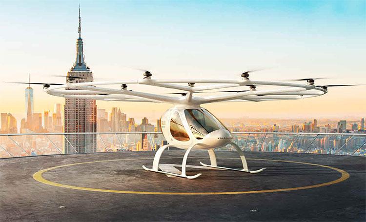 Thiết kế mô phỏng của mẫu taxi bay Volocopter 2X.