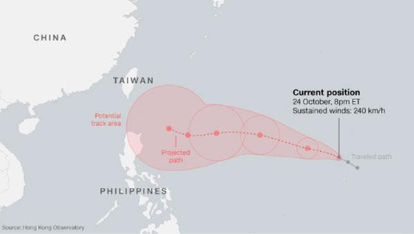 Siêu bão Yutu đang hướng về châu Á.