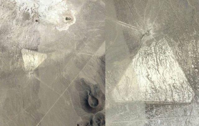 Vật thể lạ hình tam giác được cho là phi thuyền không gian tại sa mạc Nevada của Mỹ.
