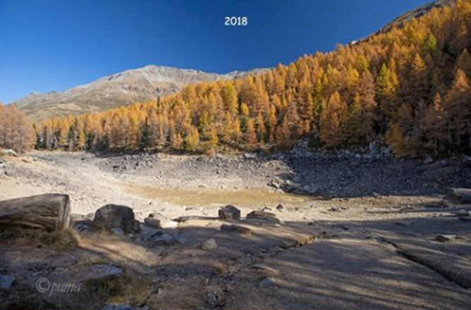 Hồ Lago Azzurro với đáy hồ trơ đất đá năm 2018.