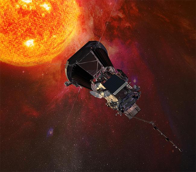 Hình ảnh mô phỏng tàu vũ trụ Parker Solar Probe thực hiện nhiệm vụ nghiên cứu bầu khí quyển của Mặt Trời.