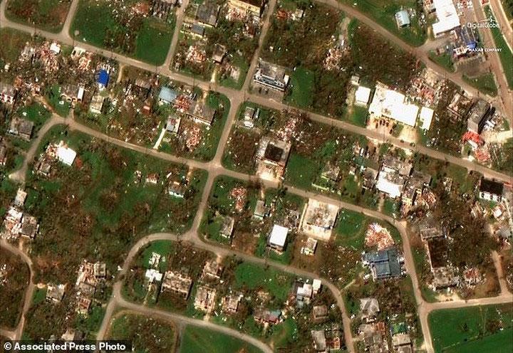 Hậu quả khi siêu bão Yutu quét qua ngôi làng nhỏ Tinian trên một hòn đảo thuộc quần đảo Mariana