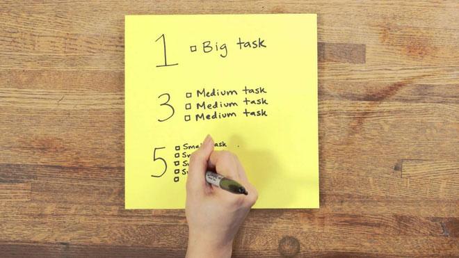 Tập trung vào danh sách 1- 3- 5 nghĩa là những việc bạn cần hoàn thành sẽ là những việc bạn đã chọn.