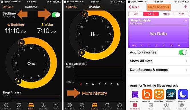 iPhone có sẵn ứng dụng Bedtime giúp theo dõi giấc ngủ của bạn.