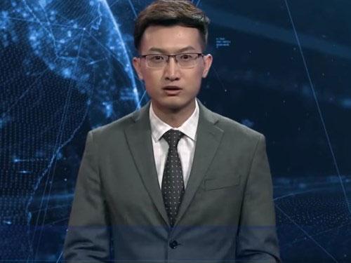 Người dẫn chương trình AI trên bản tin Tiếng Anh của Tân Hoa Xã.
