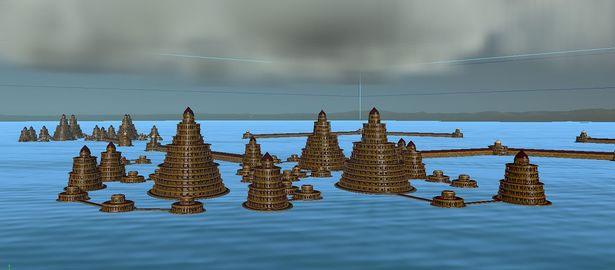 Mô hình máy tính phác họa thành phố cổ xưa, nay bị nhấn chìm dưới nước.
