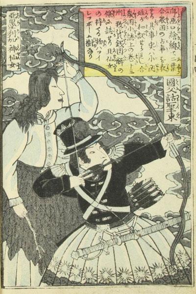 """Tranh minh họa George Washington đang tập bắn cung tên, bên cạnh là """"Nữ thần của nước Mỹ""""."""
