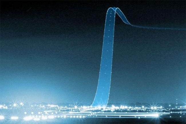 Dải sáng được tạo ra bởi một máy bay cất cánh.