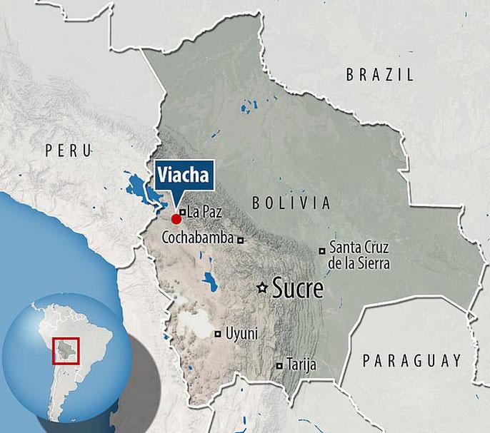 Vị trí phát hiện mộ cổ dưới mỏ đá, cách thủ đô La Paz 20km