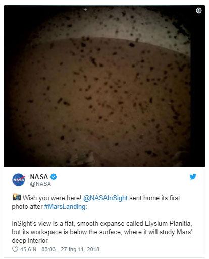 Thông báo của NASA trên Twitter.