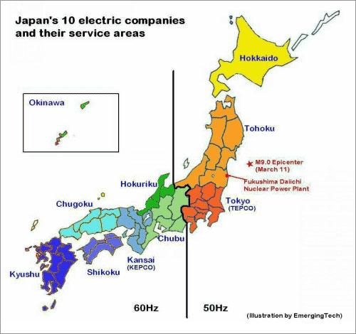 Bản đồ các công ty điện lực tại Nhật và sự khác nhau về tần số dòng điện giữa đông và tây.