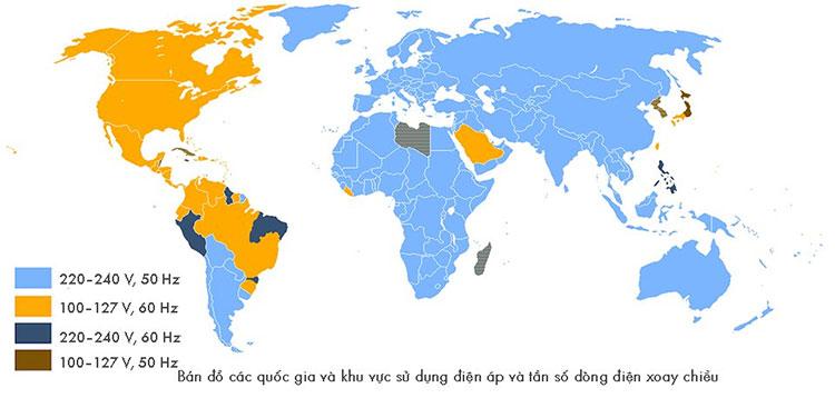 Bản đồ các quốc gia và khu vực sử dụng điện áp và tần số dòng điện xoay chiều