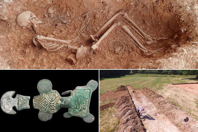 Bộ hài cốt người phụ nữ Anglo-saxon cùng với đồ tùy táng.