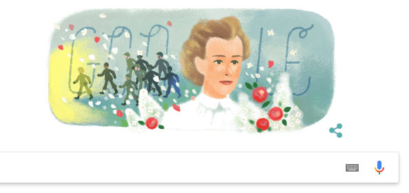 Hôm nay (4/12/2018), Google Doodle đã hiển thị hình ảnh của Edith Cavell để kỷ niệm 153 năm ngày sinh của bà.