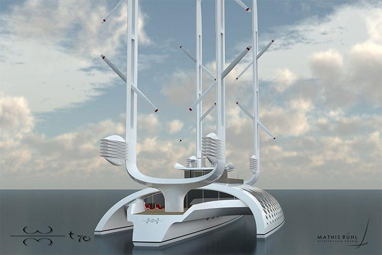 Các turbine gió trên hai cột buồm cung cấp năng lượng cho con tàu.