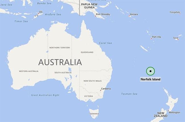 Vị trí đảo Norfolk của Australia.
