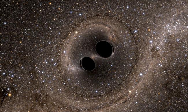 Hai hố đen trong quá trình hợp nhất.
