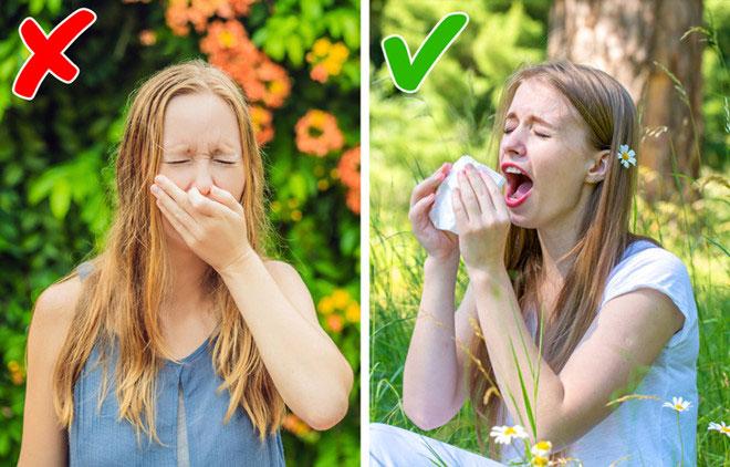 Bịt mũi khi hắt hơi