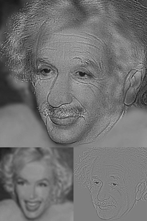 Hình hỗn hợp giữa Albert Einstein và Marilyn Monroe.