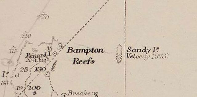 Đảo Sandy được xác định tồn tại trong bản đồ hàng hải cũ.