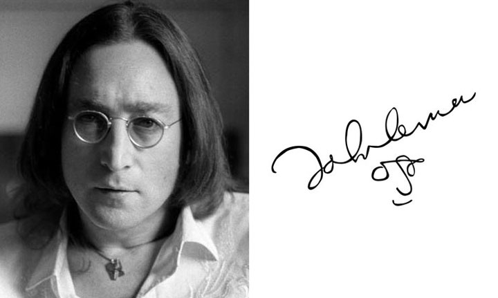 John Lennon vẽ một bức chân dung tự họa đơn giản trong chữ ký.