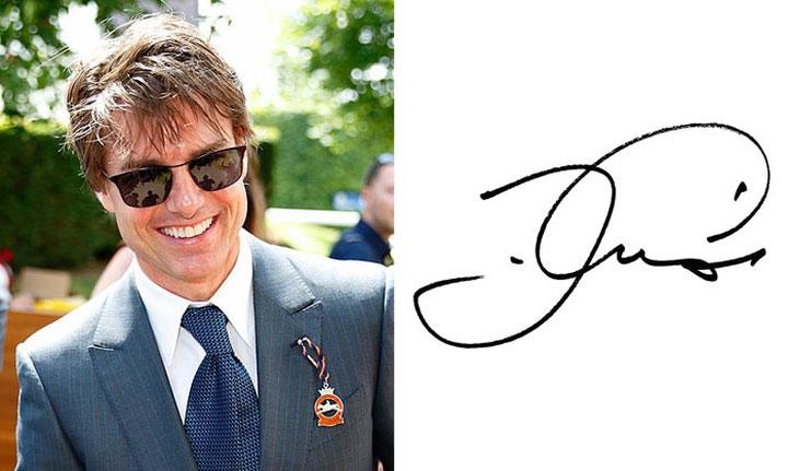 Tom Cruise với chữ ký đơn giản.