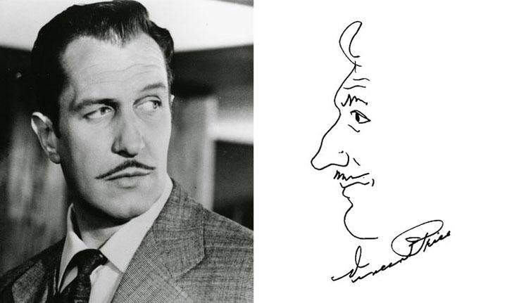 Nam diễn viên Vincent Price vẽ chân dung mình trong chữ ký.