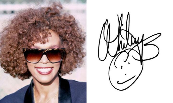 Whitney Houston vẽ hình mặt cười ngộ nghĩnh bên dưới chữ ký cầu kỳ của mình.