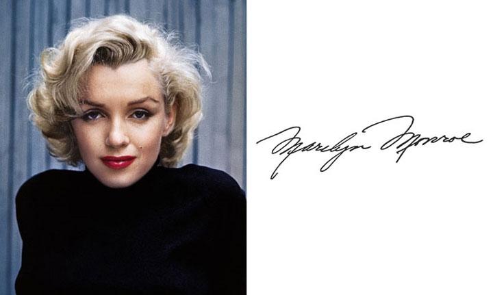 Marilyn Monroe có chữ ký khá duyên dáng.