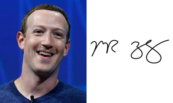 Chữ ký đơn giản của ông chủ Facebook - Mark Zuckerberg.