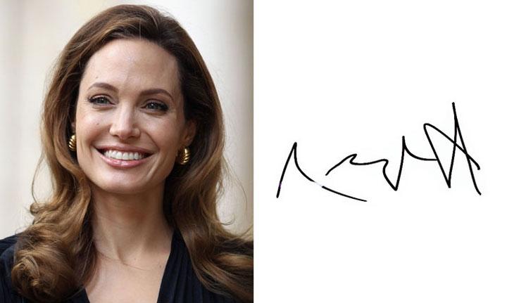 Chữ ký đơn giản của Angelina Jolie.