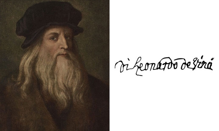 Chữ ký của Leonardo Da Vinci.