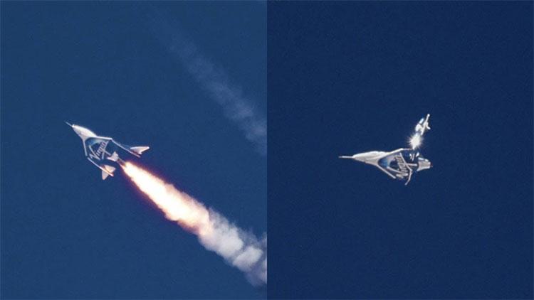 Chiếc máy bay đưa hai cựu phi công lên độ cao tối đa 82,7km.