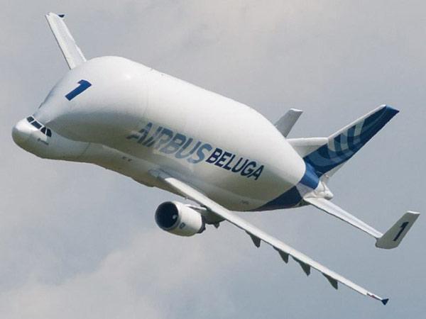 Beluga F-GSTA của Airbus đang bay biểu diễn tại Airexpo 2014