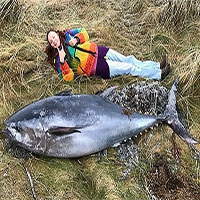 Cá ngừ khổng lồ bị bão mạnh đánh dạt vào bờ biển Scotland