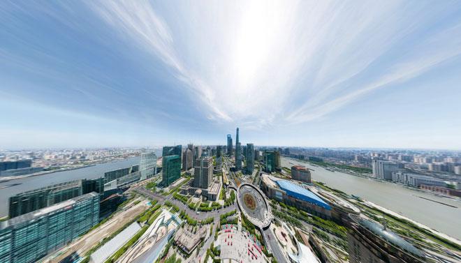 Ảnh được chụp trên đỉnh tòa tháp truyền hình Minh Châu Phương Đông, dưới dạng 360 độ.