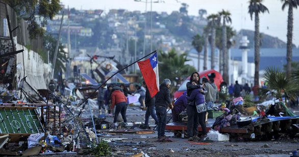 Hình ảnh tan hoang sau trận sóng thần tại Chile năm 2015