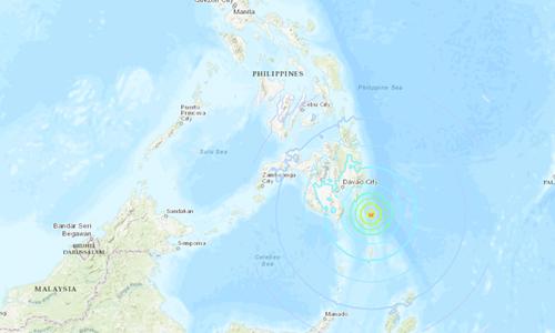 Tâm chấn trận động đất ngoài khơi Philippines