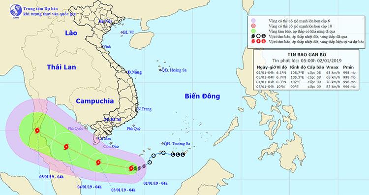 Vị trí và hướng di chuyển của bão Pabuk.