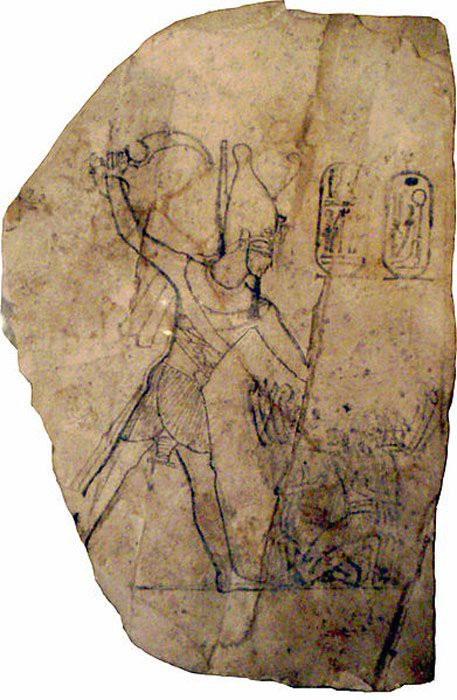 Hình thù trên phiến đá vôi mô tả Ramesses IV đánh bại kẻ thù trong triều đại thứ 20.