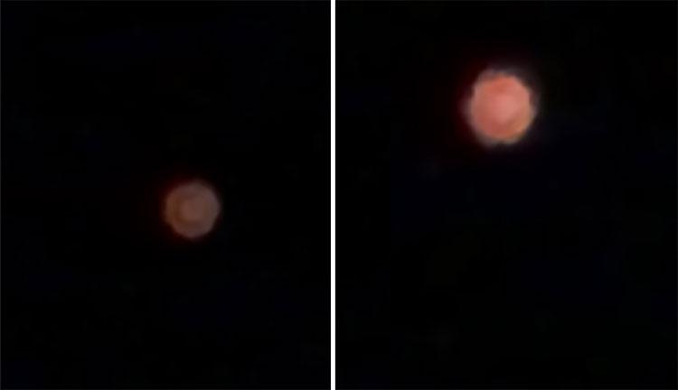Vật thể lạ bay vòng quanh, sau đó thu nhỏ dần và trở lại kích cỡ ban đầu trong vài phút.
